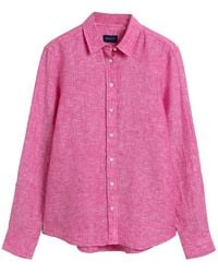 GANT Ladies The Linen Chambray Shirt - Pink