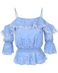 Atterley Perseverance London Wisteria Jacquard Cold-shoulder Top Size: Uk 8 - Blue