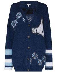 Loewe Intarsia-knit V-neck Cardigan - Blue