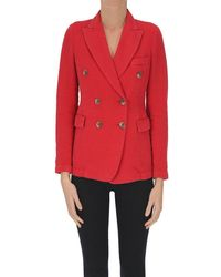 Keyfit Cotton And Lined Double-breasted Blazer - Red