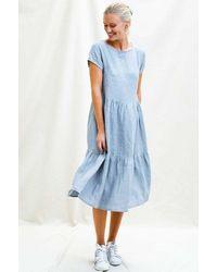 Aspiga Sandra Premium Linen Midi Dress | Dove - Grey