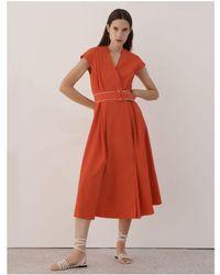 Marella Numero Belted Midi Dress - Red
