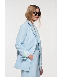 Palones Crepe Button Back Blazer - Blue
