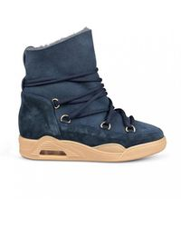 Serafini Navy Blue Suede Moon Boots