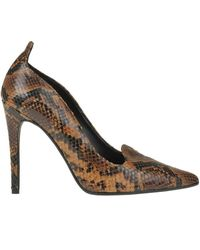 Estelle Reptile Effect Leather Pumps - Brown