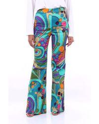 Alberta Ferretti Multicolor Patterned Flared Pants - Blue