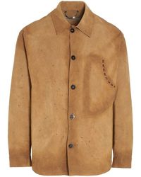 Golden Goose Deluxe Brand Men's G36mp533a1 Beige Leather Shirt - Brown