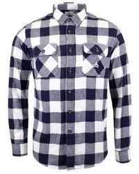 Holubar Flannel L/s Shirt Navy / White - Blue