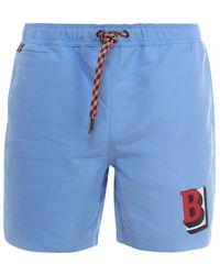 Burberry Swim Trunks With Logo - Blue