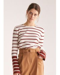Paisie Striped Top With Contrasting Flared Cuff In White And Brown - Multicolour