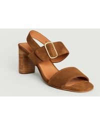 Anthology Ydriss Suede Leather Sandals Tabac 409 - Brown