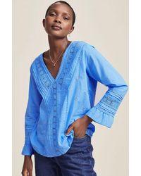 Aspiga Valentina Organic Cotton Embroidered Lace Shirt   Marina - Blue