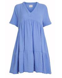 9seed Tiered Mini Dress Moroccan - Blue
