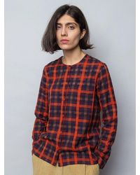 Folk Folk Collarless Shirt In Brick Windowpane - Red