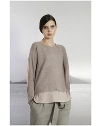 ToneT - Women's 1802645 Embroidered Grey Sweater - Lyst