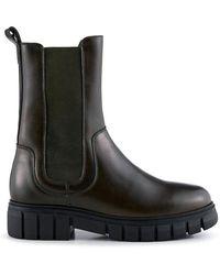 Shoe The Bear Rebel Chelsea High Khaki Leather Boot - Green