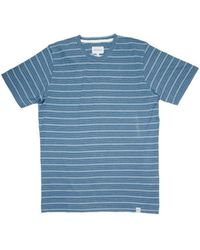Norse Projects White Navy James Fine Stripe T Shirt - Blue