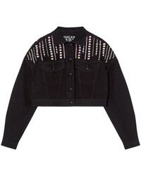 Versace Jeans Couture Denim Jacket With Crystals - Black
