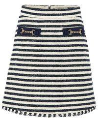 Marella Abbazia Stripe Tweed Skirt - Blue