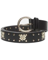 FABIENNE CHAPOT Clover Leather Studded Belt - Black & Cream White