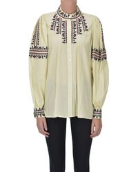 Sea Embroidered Cotton Shirt - Natural