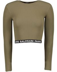 Balmain Womens Jersey Print Crop Top - Brown