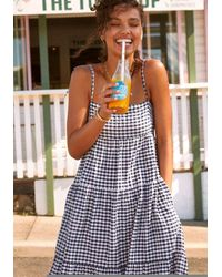 Seafolly Ally Gingham Tiered Dress - White