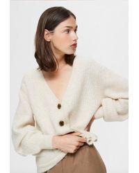 SELECTED Sif-kai Ls Rib Knit Cardigan Sandshell Melange - Natural