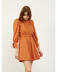 ALIGNE Carly Open Tie Back Dress In Toffee , - Brown