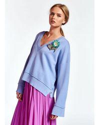 Essentiel Antwerp Zoetry Boxy V Neck Sweater - Purple