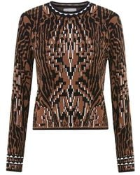 Hayley Menzies Aztec Tiger Jacquard Fitted Sweater - Black