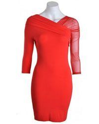 Patrizia Pepe Dress 8a0480 One Net Sleeve British Red