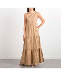 Woolrich Long Dress Sleeveless Poplin In - Grey