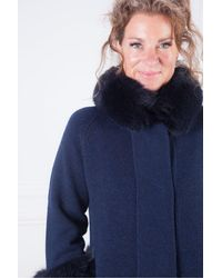 Kinross Cashmere Fur Trim Swing Cardigan - Blue