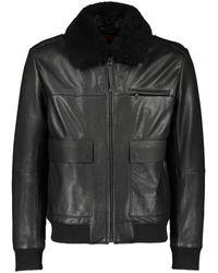 HUGO Lyan Leather Jacket - Black