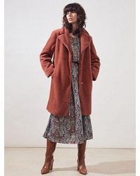 Suncoo - Emeric Faux Fur Coat In Blush - Lyst
