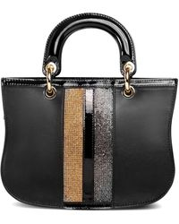 Thale Blanc Mademoiselle Satchel: Designer Crossbody Bag In Black Leather With Crystals