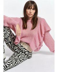 Essentiel Antwerp Soft Mohair Zomzom Blend Ruffle Sweater - Pink
