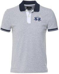 La Martina Slim Fit Contrast Trim Polo Shirt Colour: Grey