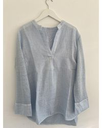 120% Lino Shirt In Angel Tow70fc000e908s00 - Blue