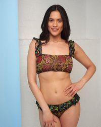 Cecilia Prado Black Floral Frilled Bikini Bottoms