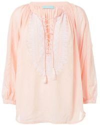 Melissa Odabash - Simona Lace-up Embroidered Top - Lyst
