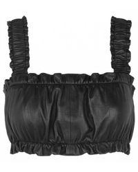 Munthe Enrique Leather Crop Top - Black