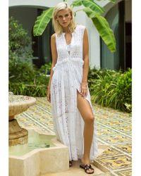 Anjuna Brigitta Sleeveless Shirt Dress - White