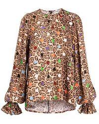 Essentiel Antwerp Antwerp Zover Ruffled Collar Shirt - Combo 1 Tacos Z1ta - Brown