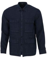 Z Zegna Linen Over Shirt (navy) - Blue