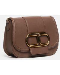 Elisabetta Franchi Mini Chocolate Clutch Bag With Chain Strap And Maxi Logo - Brown