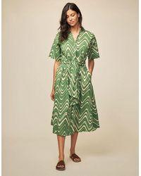 Diega Rufa Swirl Dress - Ecru - Green