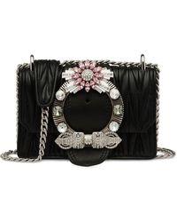 Miu Miu Women's 5bd084cjon88f0002 Black Leather Shoulder Bag