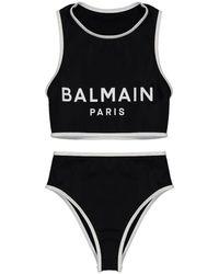 Balmain Womens High Waist Bikin - Black